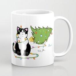 Tuxedo Cat Knocks Over Christmas Tree Coffee Mug