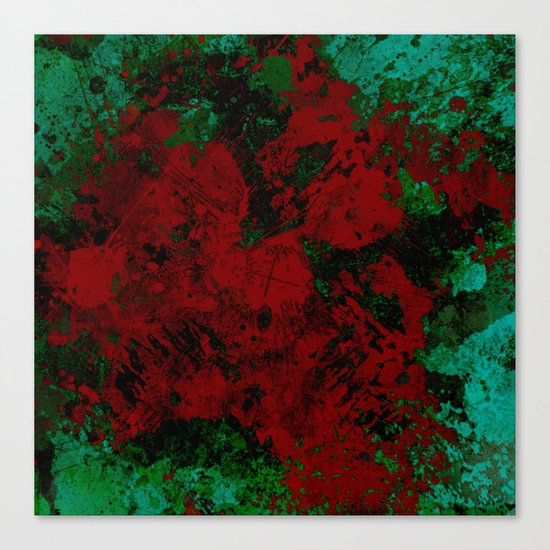 Roses Are Red - Abstract, red and cyan painting Canvas Print