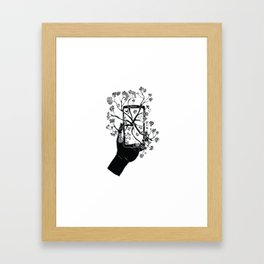 Break Free Cellphone Illustration - Hand holding cellphone growing a tree. Framed Art Print