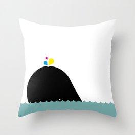 CMYK Whale Throw Pillow