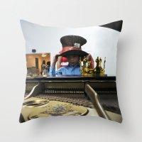 hat Throw Pillows featuring Hat by Faith Buchanan