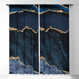 Navy Blue Gold Agate Geode Stone Jewel Pattern Blackout Curtain