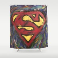 man of steel Shower Curtains featuring Man of Steel by Jason L Cohen Fine Art