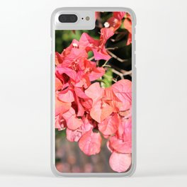 Hot Coral Floral Clear iPhone Case