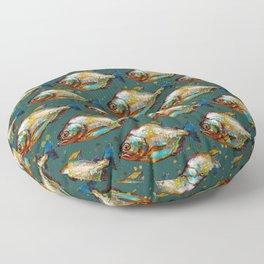 Piranha Army Hand painted Pattern Floor Pillow