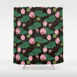 Moody lotus flowers Shower Curtain