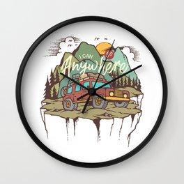 Mountains Road Trip Outdoor Camping SUV Adventure T-Shirt - Design Illustration Print Artwork Gift Wall Clock