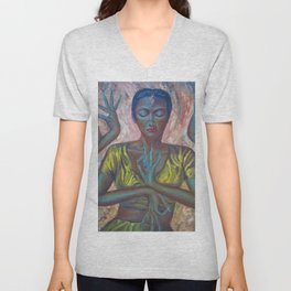 Beautiful Jaipuri Queen of Rajasthan, India Dressed in Gold portrait painting Unisex V-Neck