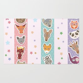 Set of funny animals muzzle seamless pattern with stars, pink lilac blue stripes. Vector Rug