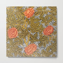 William Morris Champagne Red Wild Roses Textile Floral Pattern Metal Print