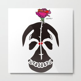 Skull and Rose Illustration Metal Print