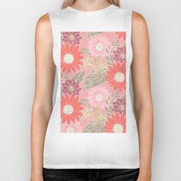 Modern coral blush pink white girly floral Biker Tank