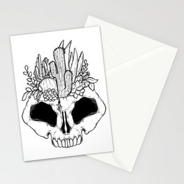 GROW - Succulents in a skull Stationery Cards