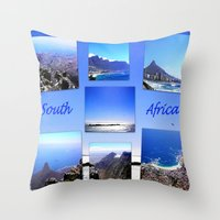 south africa Throw Pillows featuring South Africa Landscape by Art-Motiva