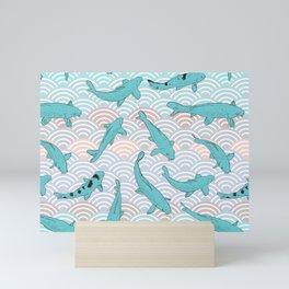 Koi carp. Blue fish. Asian wave circle background Mini Art Print