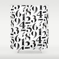 numbers Shower Curtains featuring Numbers by Sibling & Co.