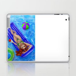 Redhead girl relaxing at the swimming pool Laptop & iPad Skin
