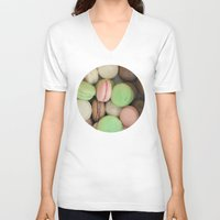 macaroons V-neck T-shirts featuring French Macaroons by Laura Ruth