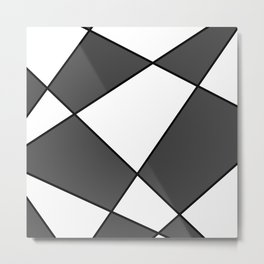Geometric abstract - gray, black and white. Metal Print