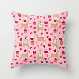 Shiba Inu dog breed love cupcakes hearts valentines day pet gifts Shiba inus Throw Pillow