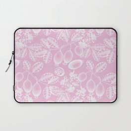 Modern girly pink white hand painted floral berries pattern Laptop Sleeve