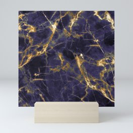 Majesty Purple Marble With 24-Karat Gold Hue Veins Mini Art Print