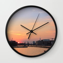 berlin kreuzberg -  skyline, sunset, river and boats Wall Clock