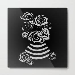 Crinkled Roses in Black & White Striped Vase Metal Print