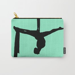 Aerial Silk Silhouette on Mint Carry-All Pouch