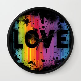 For Love - Black Background Wall Clock