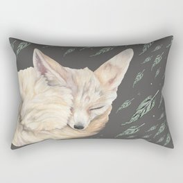 Fennec Fox Feather Dreams in Green & Grey Rectangular Pillow