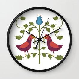 Simple Bird Folk Art Wall Clock