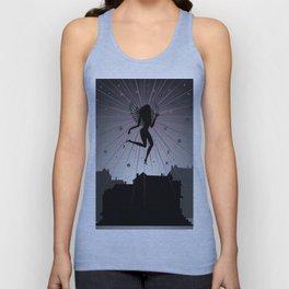 Dark angel soaring over houses Unisex Tank Top