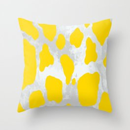 Cow Pattern Yellow White Speckled Throw Pillow