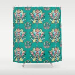 Lotus Mandala Doodle Green Pattern Shower Curtain