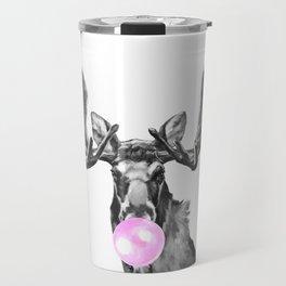Bubble Gum Moose in Black and White Travel Mug