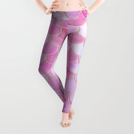 Pink Pearlescent Mermaid Scales Pattern Leggings