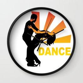 dancing couple silhouette - brazilian zouk Wall Clock