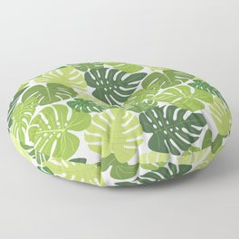 Monstera Leaves Pattern (white background) Floor Pillow