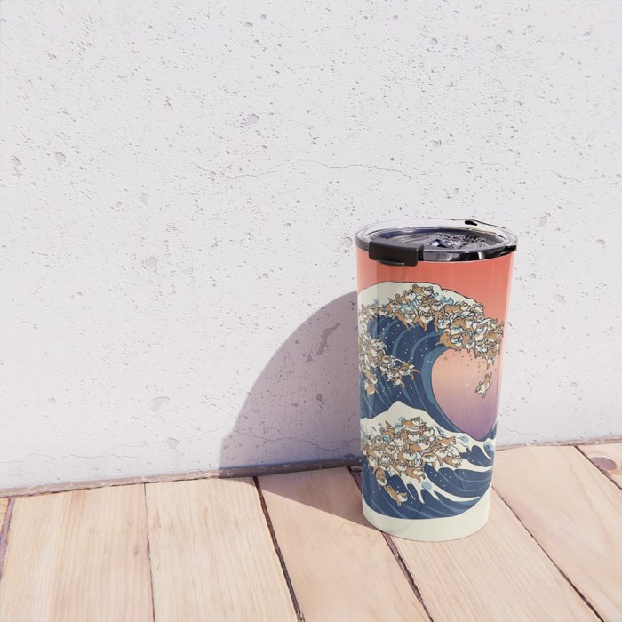 The Great Wave of Shiba Inu Travel Mug