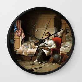 Lincoln Writing The Proclamation Of Freedom Wall Clock