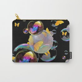 SURREAL GOLDEN YELLOW BUTTERFLIES  & SOAP BUBBLES Carry-All Pouch