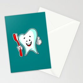 Dental Care happy Tooth with Toothbush Stationery Cards
