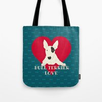 bull terrier Tote Bags featuring Bull Terrier Love by ShaMiLa