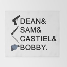 Supernatural Names Throw Blanket