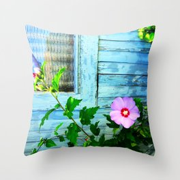Country Blue Barn Wood Flag Throw Pillow