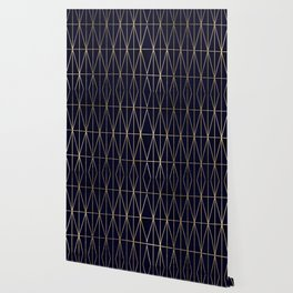 Modern gold geometric triangles pattern navy blue watercolor Wallpaper