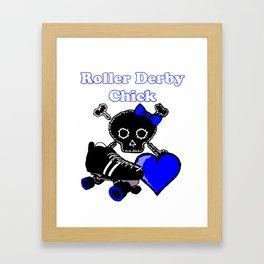 Roller Derby Chick (Blue) Framed Art Print