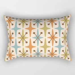 Mid Century Modern Abstract Star Pattern 441 Orange Brown Blue Olive Green Rectangular Pillow