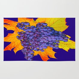 Decorative Purple Concorde Grapes On Golden Leaves Rug